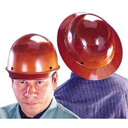 MSA Skullgard Protective Hard Hats, Staz-On Pin-Lock Suspension, Lamp Bracket, Tan