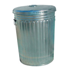 Magnolia Brush Round Metal Outdoor Trash Can, 20 Gallon, Chrome
