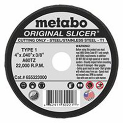 Metabo Slicer Cutting Wheel, 4 in Dia, .04 in Thick, A 60 TZ Grit, Alum. Oxide
