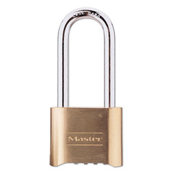 Master Lock Company Resettable Combination Padlock, Brass, 2 in Wide, Brass Color, 6/Box