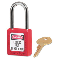 Master Lock Company Government Safety Lockout Padlock, Zenex, 1 1/2 in, Red, 1 Key, 6/Box