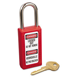 Master Lock Company Lightweight Zenex Safety Lockout Padlock, 1 1/2 in Wide, Red, 2 Keys, 6/Box