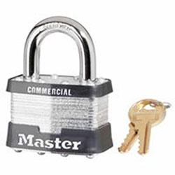 Master Lock Company Laminated Padlocks Keyed Alike Key Code 0303, 3/8 in Dia., 3/8 in W, Silver