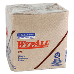 WypAll* L20 Towels, 1/4 Fold, 2-Ply, 12 1/2 x 12, Brown, 68/Pack, 12 Packs/Carton