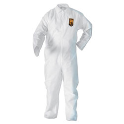 KleenGuard* BP A20 Coveralls, MICROFORCE Barrier SMS Fabric, White, Large, 24/Carton