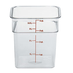 Cambro Clear Camwear Camsquare Food Storage Containers, 4 Quart