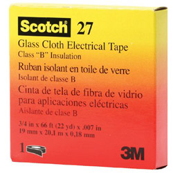 "Scotch 27 Glass Cloth Electrical Tape, 3/4"" x 66ft"