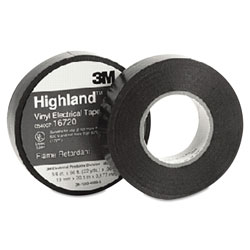 "Scotch Highland Vinyl Commercial Grade Electrical Tape, 3/4"" x 66ft, 1"" Core"