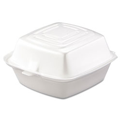 "Dart 50HT1 Medium 5"" White Sandwich Foam Hinged Lid Container"
