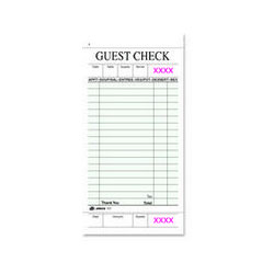 National Check Guest Check Pad, Receipt Stubs, 3 1/2 x 6 3/4, One-Part Carbonless, 50 Forms