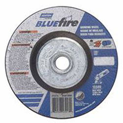 Norton BlueFire Depressed Center Wheels, 4 1/2in Dia, 5/8in Arbor, 1/4in Thick, 24 Grit