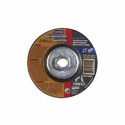 Norton NorZon Plus Depressed Center Wheel, 4 1/2in Dia, 5/8in Arbor, 24 Grit
