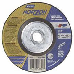 Norton Depressed Center Grinding Wheel, 4 1/2 in Dia, 1/4 in Thick, Zirconia