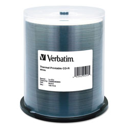 Verbatim CD-R Discs, Printable, 700MB/80min, 52x, Spindle, White, 100/Pack