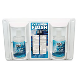 "Pac-Kit Twin Bottle Eye Flush Station w/Two 16oz Bottles, 3.75""D x 13.5""H x 16.5""W"
