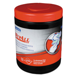 WypAll* Heavy-Duty Waterless Cleaning Wipes, 12 x 9 1/2, Green-White, 50/Canister, 8/CT