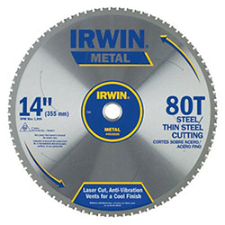 Irwin 80T Metal Cutting Ferrous Steel Circular Saw Blade, 14in