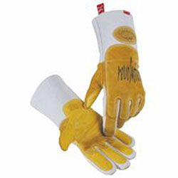 Caiman Revolution Welding Gloves, Pig Grain Leather, Large, White/Gold