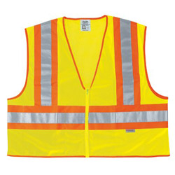 "River City Poly Mesh Safety Vest 4-1/2"" Orange/sil"
