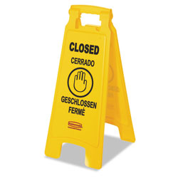 Rubbermaid Multilingual  inClosed in Sign, 2-Sided, Plastic, 11w x 12d x 25h, Yellow