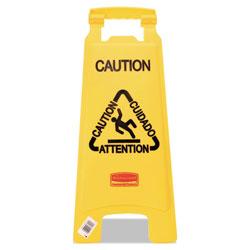 Rubbermaid Multilingual  inCaution in Floor Sign, Plastic, 11 x 12 x 25, Bright Yellow