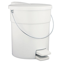 Rubbermaid White Plastic Step-On Fire-Safe Trash Can, 4.5 Gallon, Round