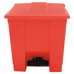 Rubbermaid Red Plastic Step-On Fire-Safe Trash Can, 8 Gallon, Square