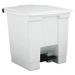 Rubbermaid Step-on Trash Container, 8 GAL, White