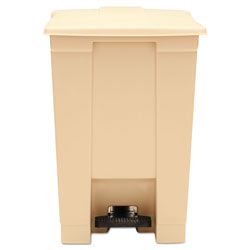 Rubbermaid Indoor Utility Step-On Waste Container, Square, Plastic, 12 gal, Beige