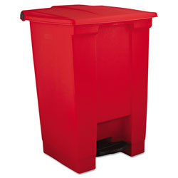 Rubbermaid Indoor Utility Step-On Waste Container, Square, Plastic, 12 gal, Red
