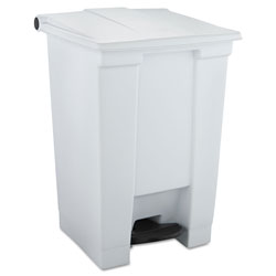 Rubbermaid Indoor Utility Step-On Waste Container, Square, Plastic, 12 gal, White