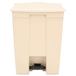Rubbermaid Beige Plastic Step-On Fire-Safe Trash Can, 18 Gallon, Square
