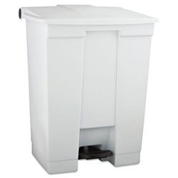 Rubbermaid White Plastic Step-On Fire-Safe Trash Can, 18 Gallon, Square
