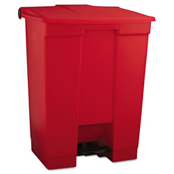 Rubbermaid Indoor Utility Step-On Waste Container, Rectangular, Plastic, 18 gal, Red