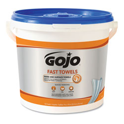 Gojo FAST TOWELS Hand Cleaning Towels, 7.75 x 11, 130/Bucket, 4 Buckets/Carton