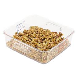 "Rubbermaid 2 Qt. Clear Square Carb X Space Saving Container; 8 3/4"" X 8 5/16"""