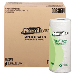 Marcal 100% Premium Recycled Towels, 2-Ply, 11 x 9, White, 70/Roll, 30 Rolls/Carton