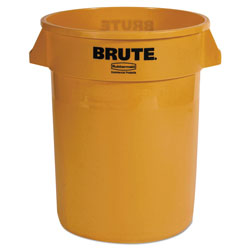 Rubbermaid Brute Round Plastic Outdoor Trash Can, 32 Gallon, Yellow