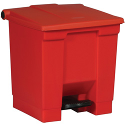 Rubbermaid Square Plastic Step-On Trash Can, 8 Gallon, Red