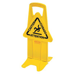 "Rubbermaid Yellow Stable Safety Sign w/"" caution"" Imprint"