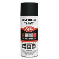Rust-Oleum Industrial Choice 1600 System Enamel Paint, 12 oz, Semi-Flat Black