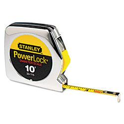 Stanley Bostitch Powerlock Tape Rule, 1/4 in x 10ft, Plastic Case, Chrome, 1/16 in Graduation