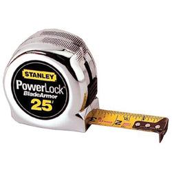 Stanley Bostitch Powerlock Reinforced Tape Rule, 1 in x 25ft, Plastic Case, Chrome, 1/16 in Grad