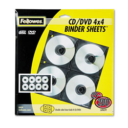 Fellowes CD Binder Sheet - CD Binder Page - Capacity: 8 CD - Black, Clear (pack Of 25)