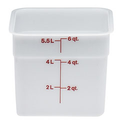 Cambro Camwear Camsquare Poly White Food Storage Containers, 6 Quarts