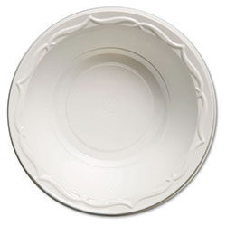 Genpak Aristocrat Plastic Bowls, 12 Ounces, White, Round, 125/Pack, 8 Packs/CT