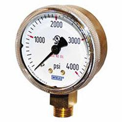Wika 2 in Brass Gauge, 4,000 psi, 1/4 in (NPT)