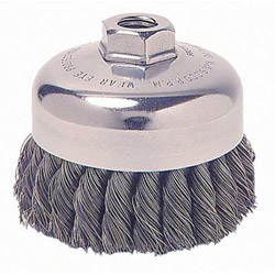 Weiler SRA-2 General-Duty Knot Wire Cup Brush, .014, 5/8-112, 3/4 in dia