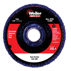 "Weiler 4-1/2"" Vortec Abrasive Flap Disc 8oz 7/8"" A.h."