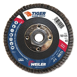 Weiler Saber Tooth Ceramic Flap Disc, 4 1/2 in, 40 Grit